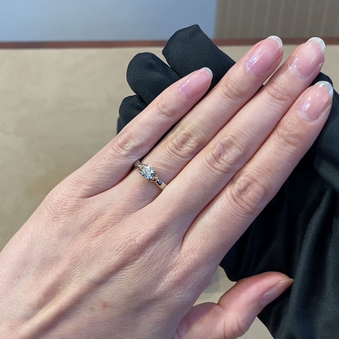 0.50CT Diamond Solitaire Ring<br /> Rose Gold and Platinum Empire Setting