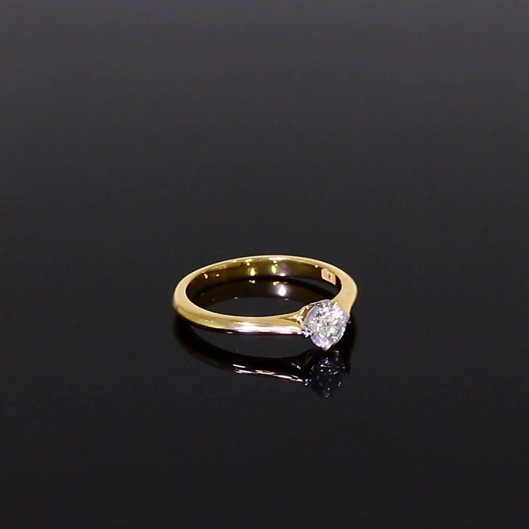 0.41CT Diamond Solitaire Ring<br /> Yellow Gold and Platinum Windsor Setting