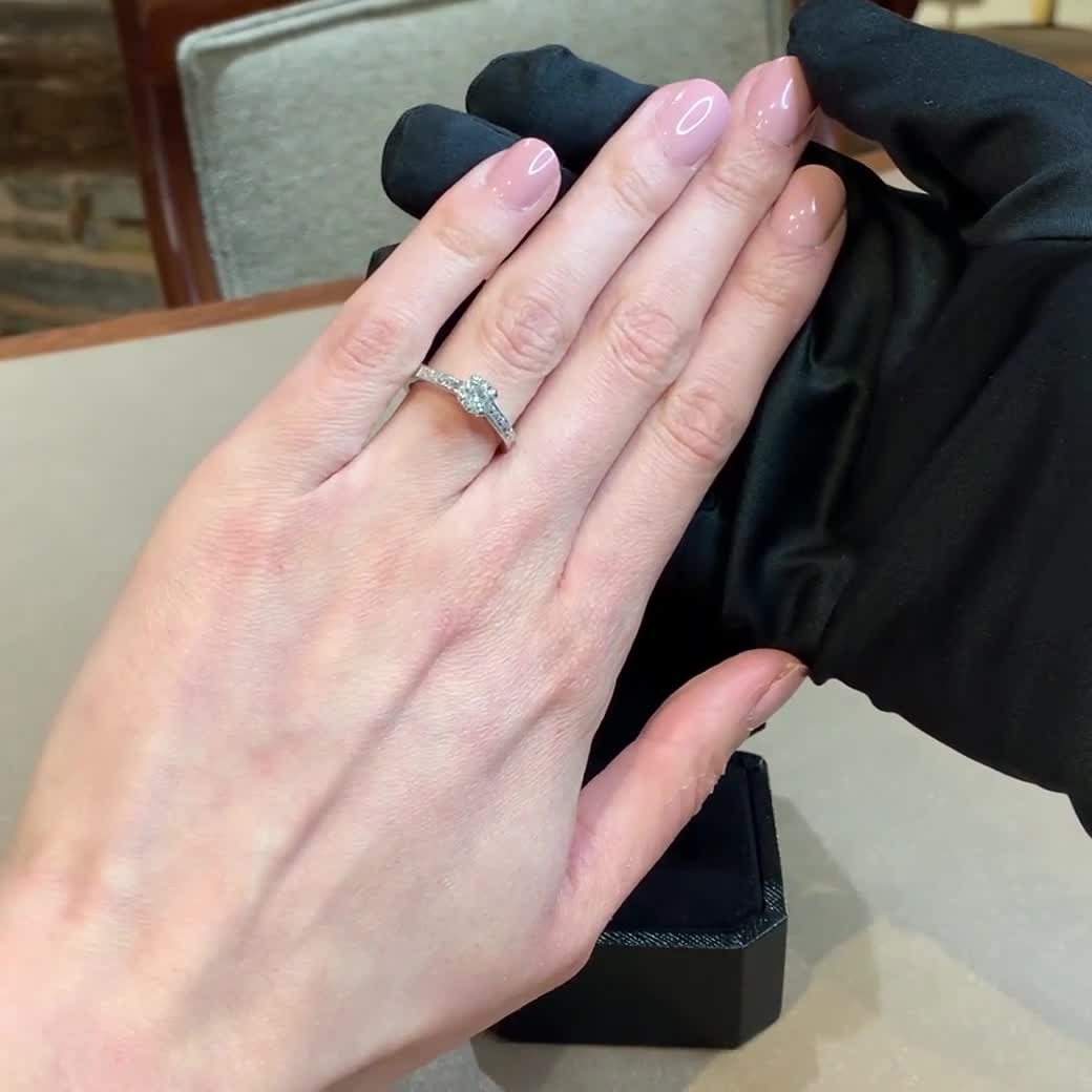 0.70CT Diamond Solitaire Ring<br /> Platinum Gatsby Setting
