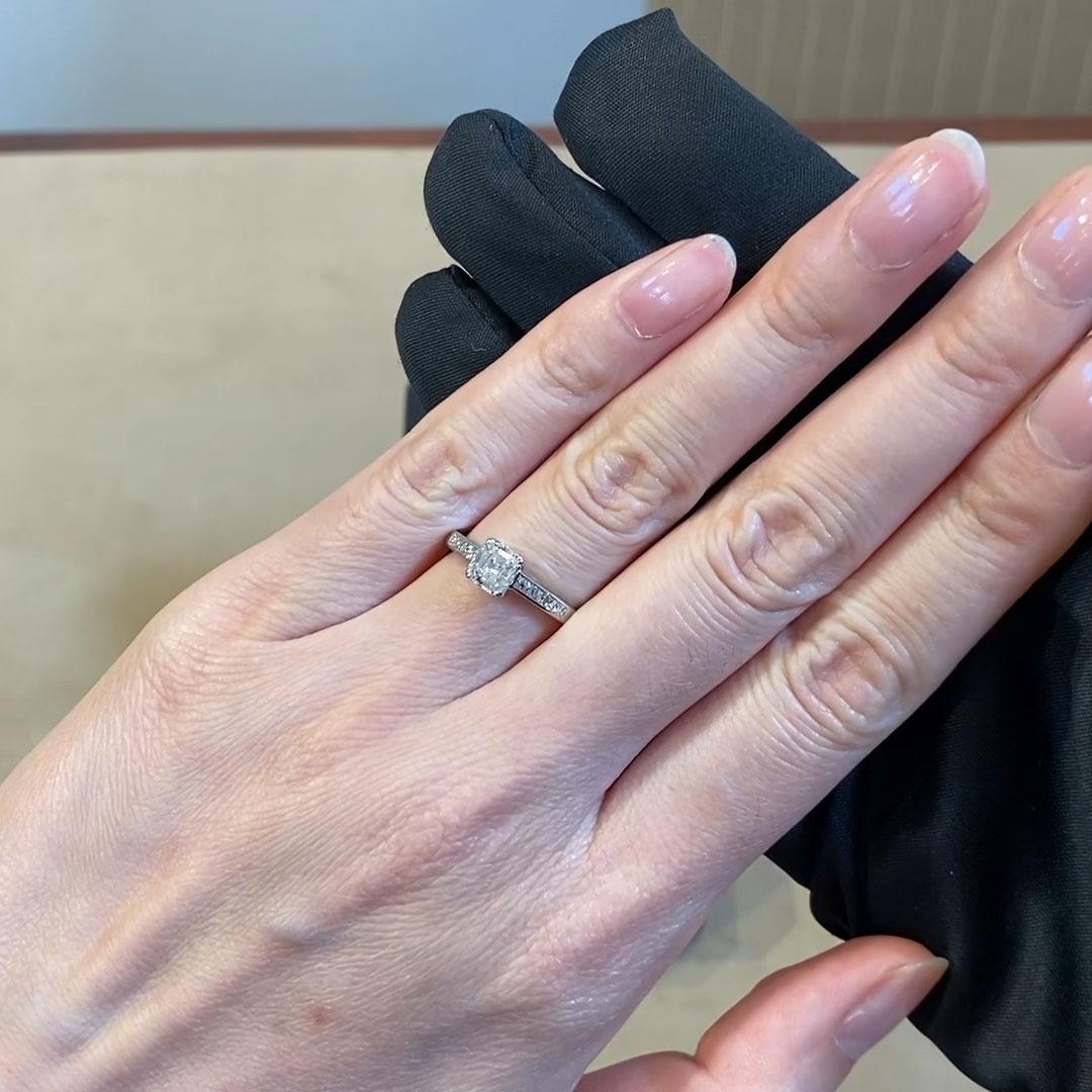 0.90CT Diamond Solitaire Ring<br /> Platinum Gatsby Setting