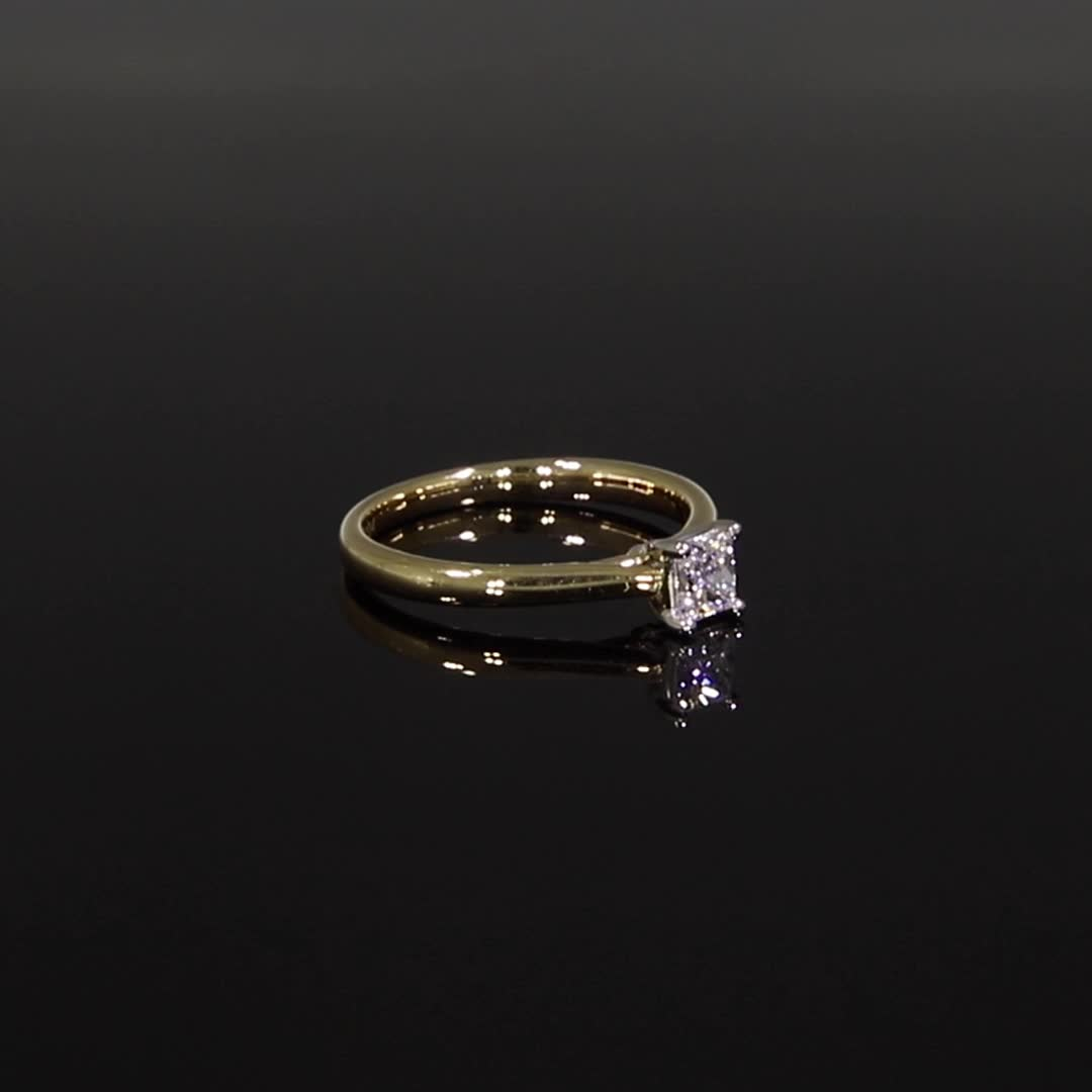 0.41CT Diamond Solitaire Ring<br /> Yellow Gold and Platinum Gaia Setting