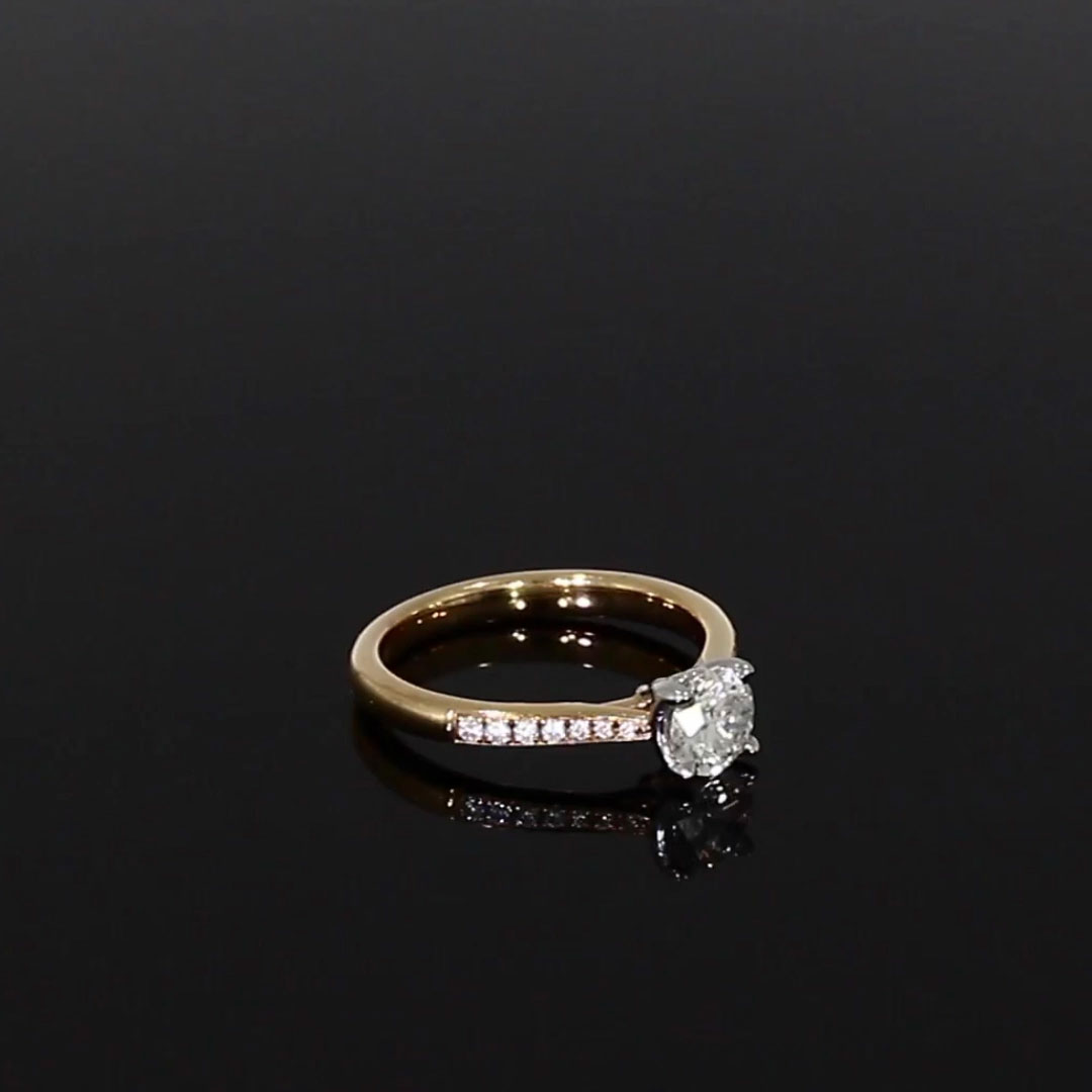 0.70CT Diamond Solitaire Ring<br /> Rose Gold and Platinum Duchess Setting