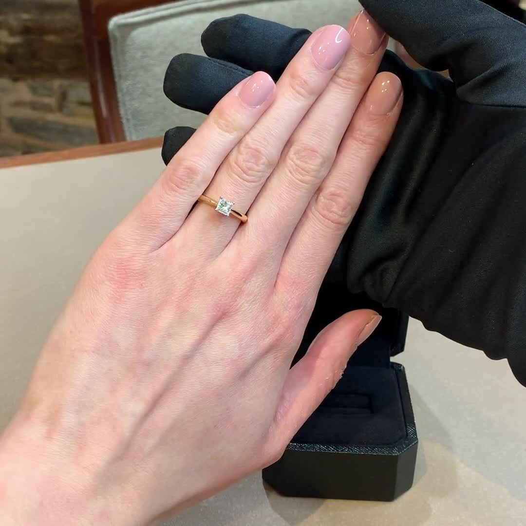 0.58CT Diamond Solitaire Ring<br /> Yellow Gold and Platinum Gaia Setting