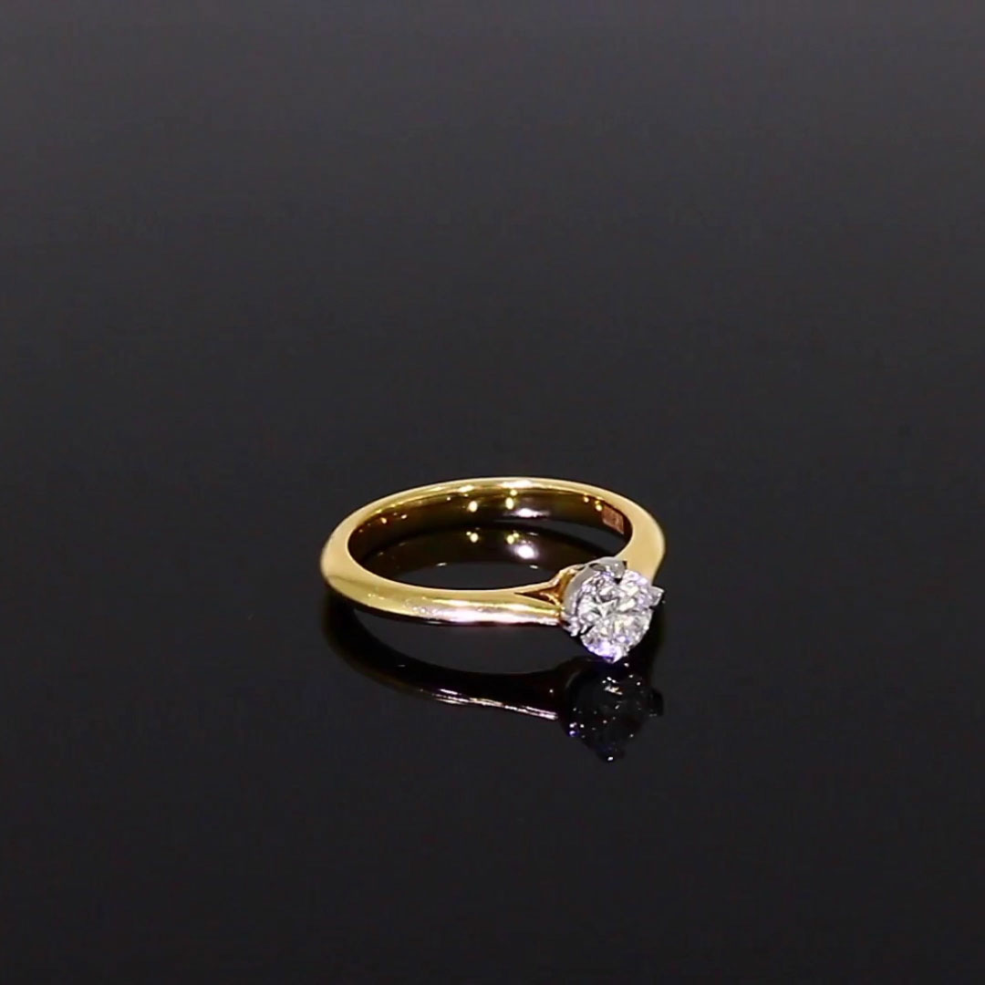 0.60CT Diamond Solitaire Ring<br /> Yellow Gold and Platinum Windsor Setting