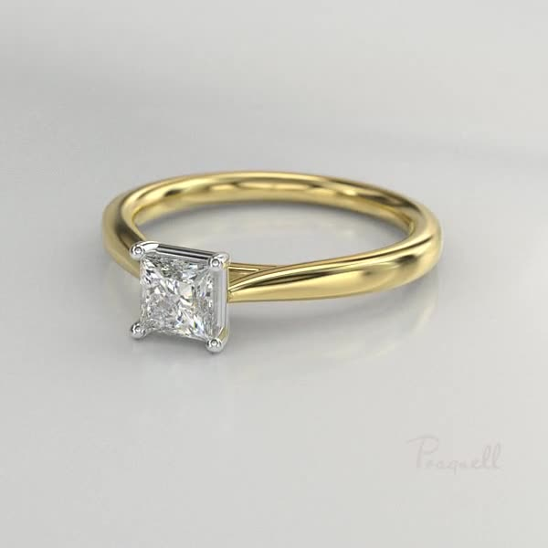 0.93CT Diamond Solitaire Ring<br /> Yellow Gold and Platinum Gaia Setting