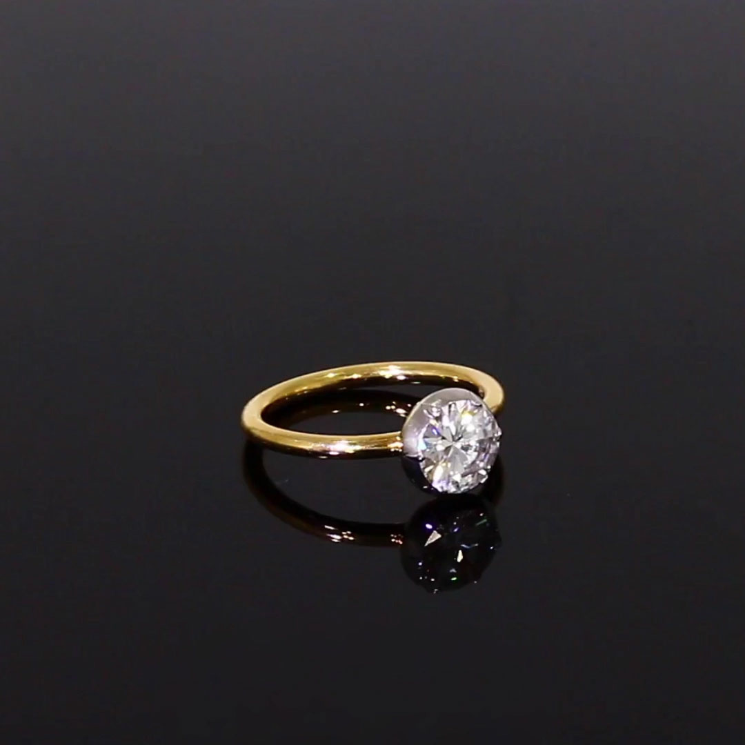 1.24CT Diamond Solitaire Ring<br /> Rose Gold & Platinum Cut Down Setting