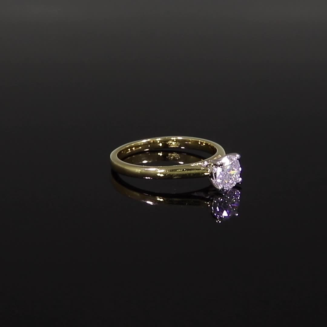 0.72CT Diamond Solitaire Ring<br /> Yellow Gold and Platinum Gaia Setting