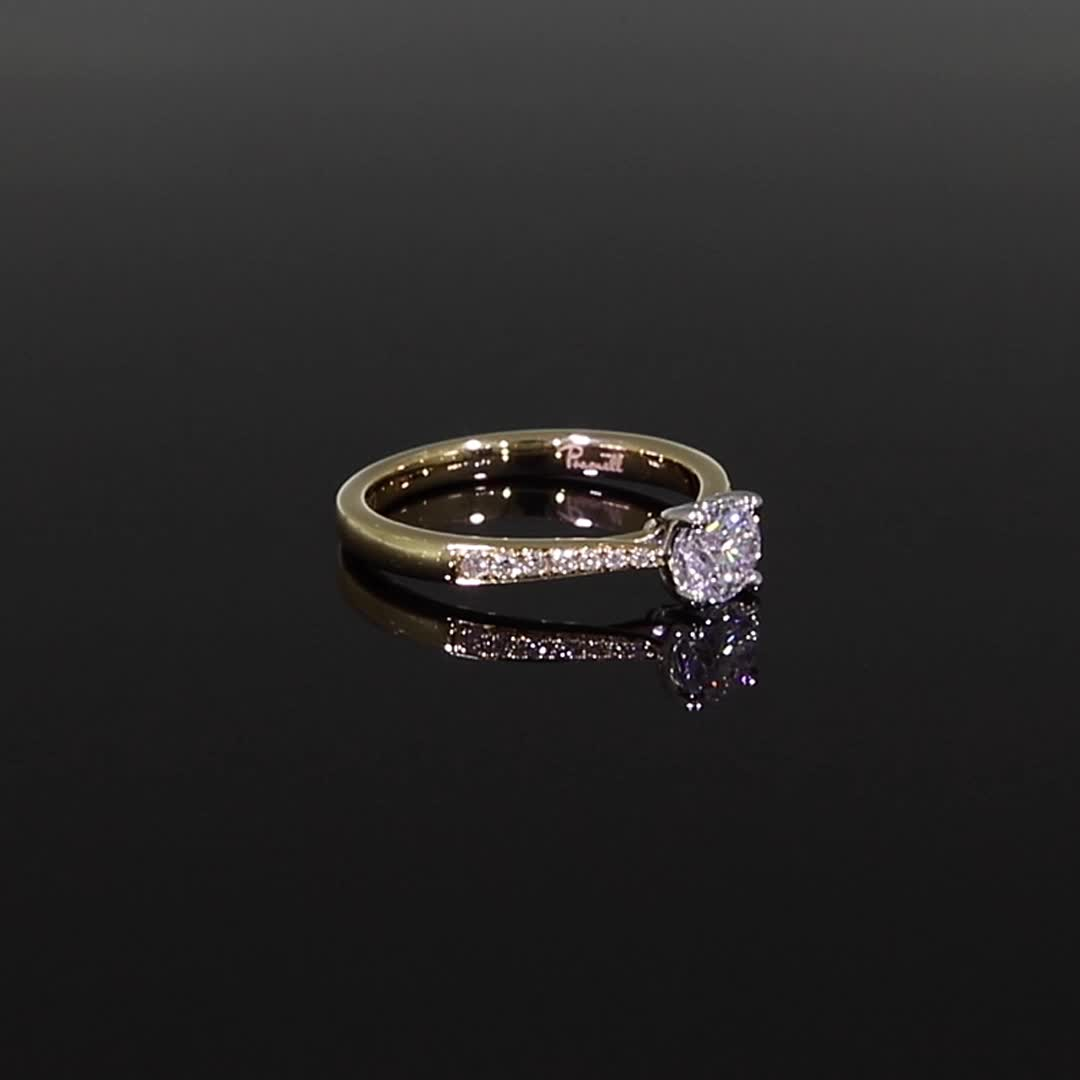 0.54CT Diamond Solitaire Ring<br /> Yellow Gold and Platinum Duchess Setting