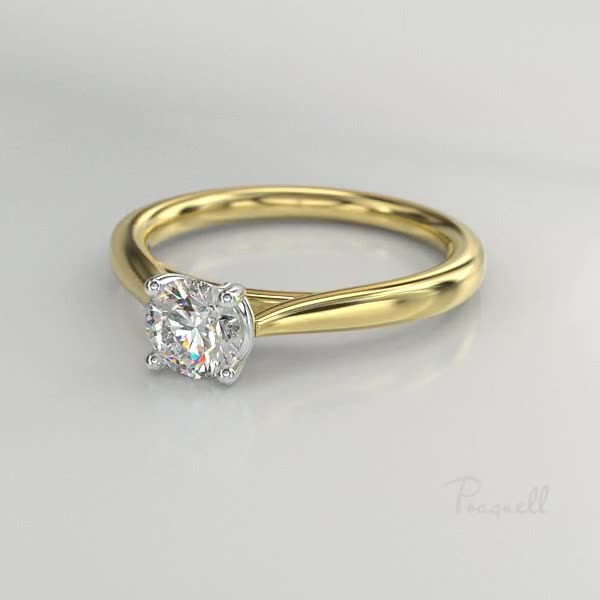 0.50CT Diamond Solitaire Ring<br /> Yellow Gold and Platinum Gaia Setting