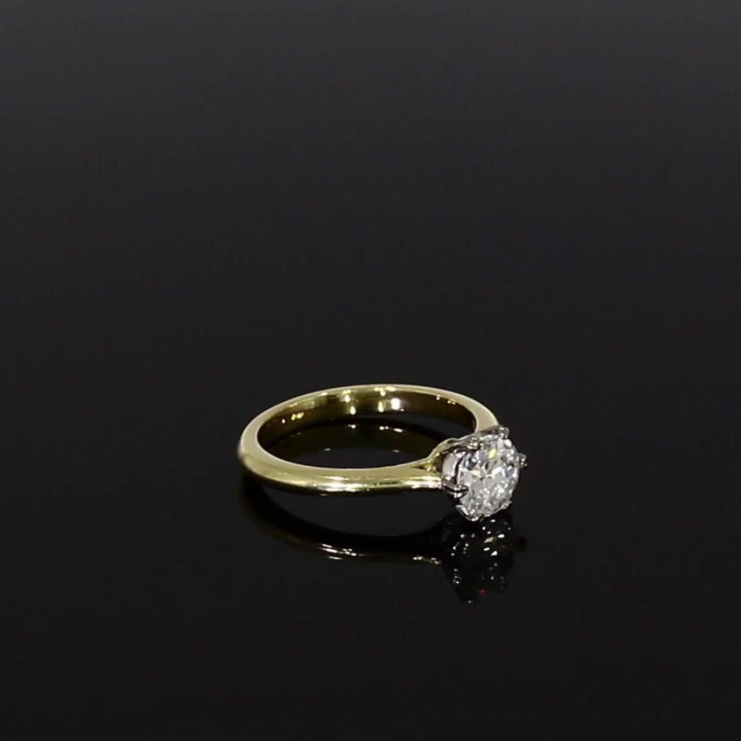 1.01CT Diamond Solitaire Ring<br /> Yellow Gold and Platinum Windsor Setting