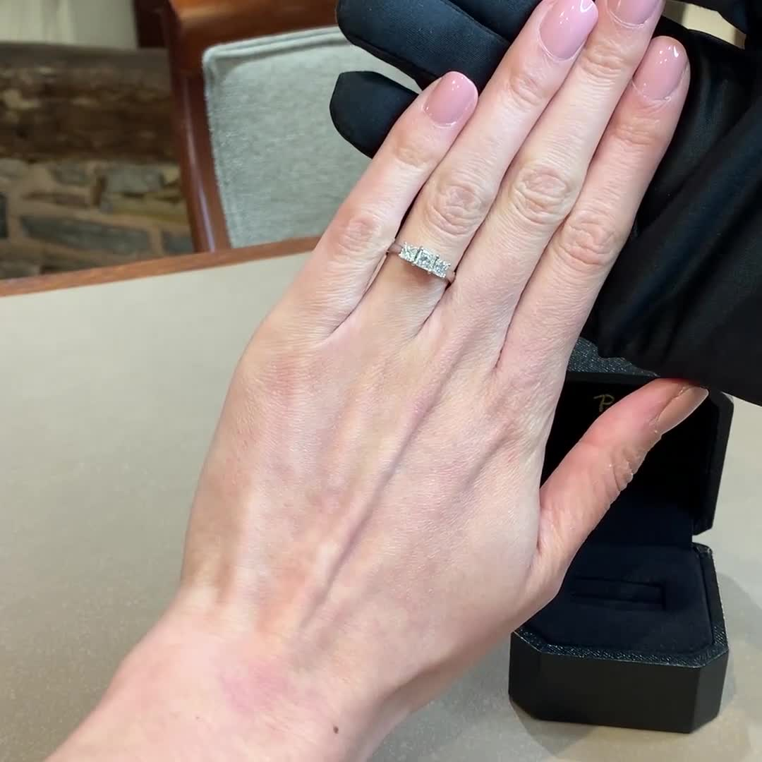 1.00CT Diamond Three-Stone Ring<br /> Platinum Gaia Setting