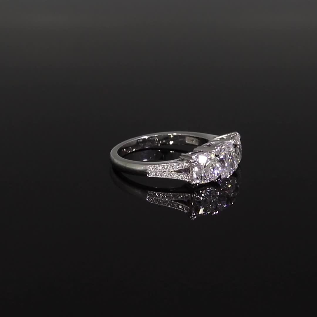 2.60CT Diamond Three-Stone Ring<br /> Platinum Imperial Setting