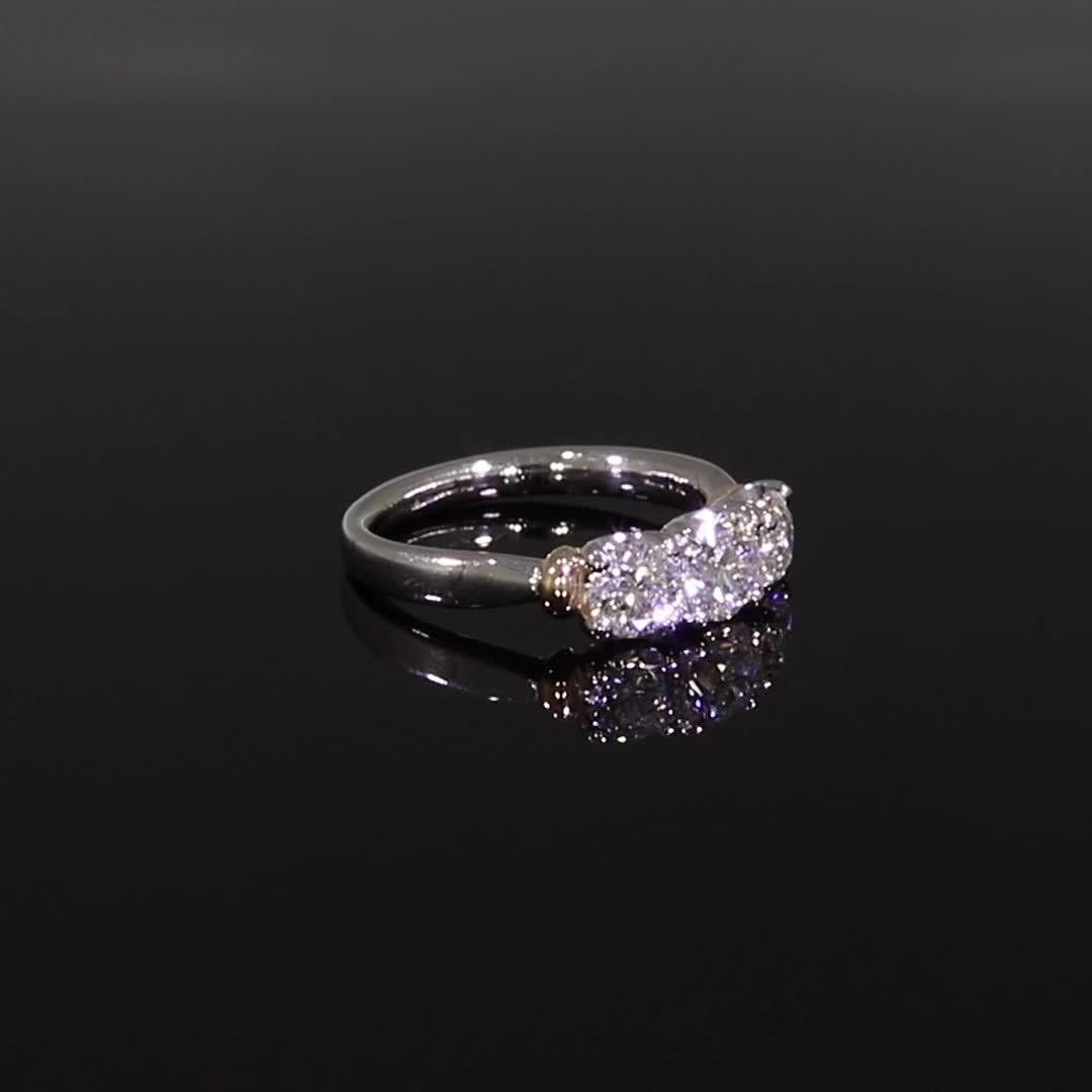 1.70CT Diamond Three-Stone Ring<br /> Rose Gold and Platinum Empire Setting