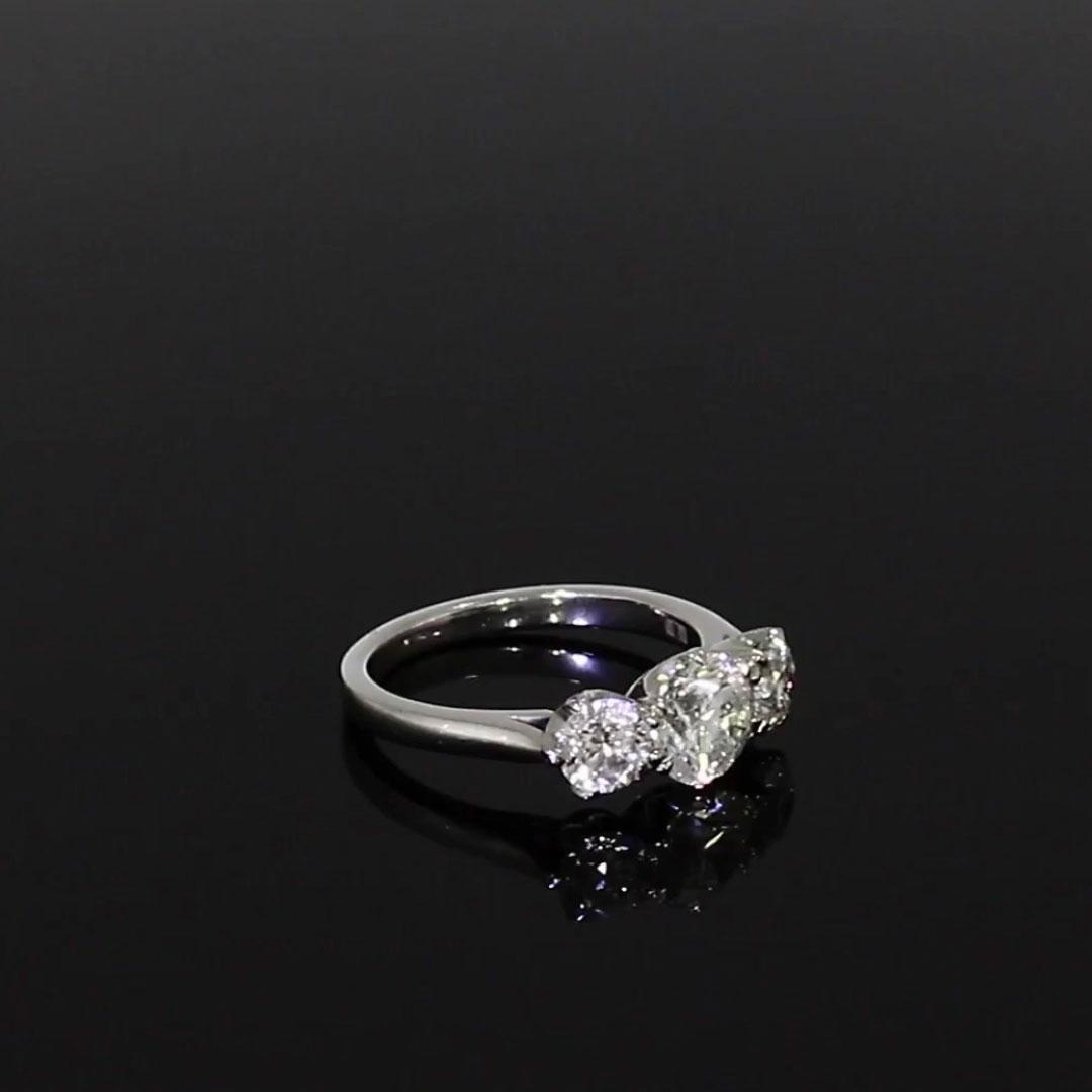 2.25CT Diamond Three-Stone Ring<br /> Platinum Coronet Setting