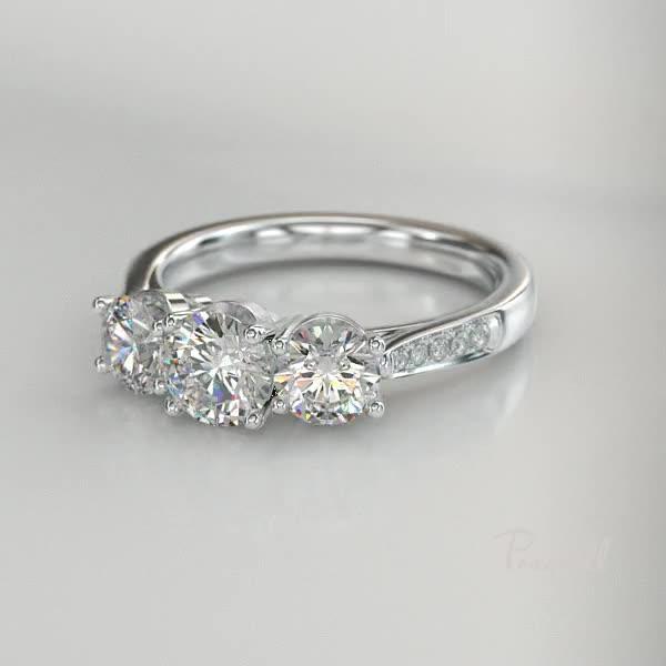 2.11CT Diamond Three-Stone Ring<br /> Platinum Duchess Setting