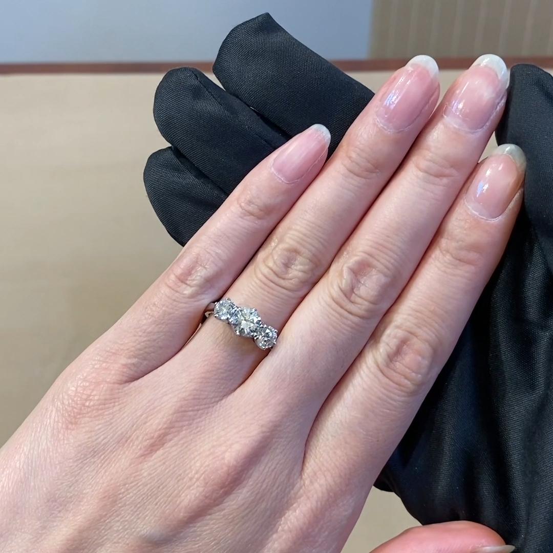 1.83CT Diamond Three-Stone Ring<br /> Platinum Coronet Setting