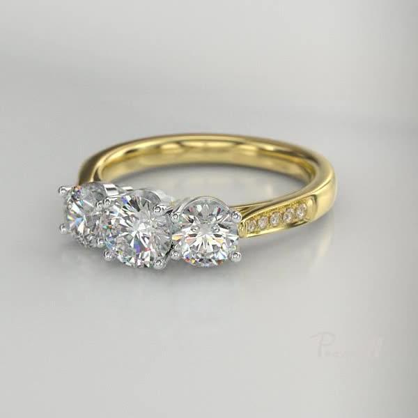 1.61CT Diamond Three-Stone Ring<br /> Yellow Gold and Platinum Duchess Setting