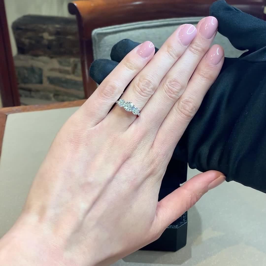 2.12CT Diamond Three-Stone Ring<br /> Platinum Duchess Setting