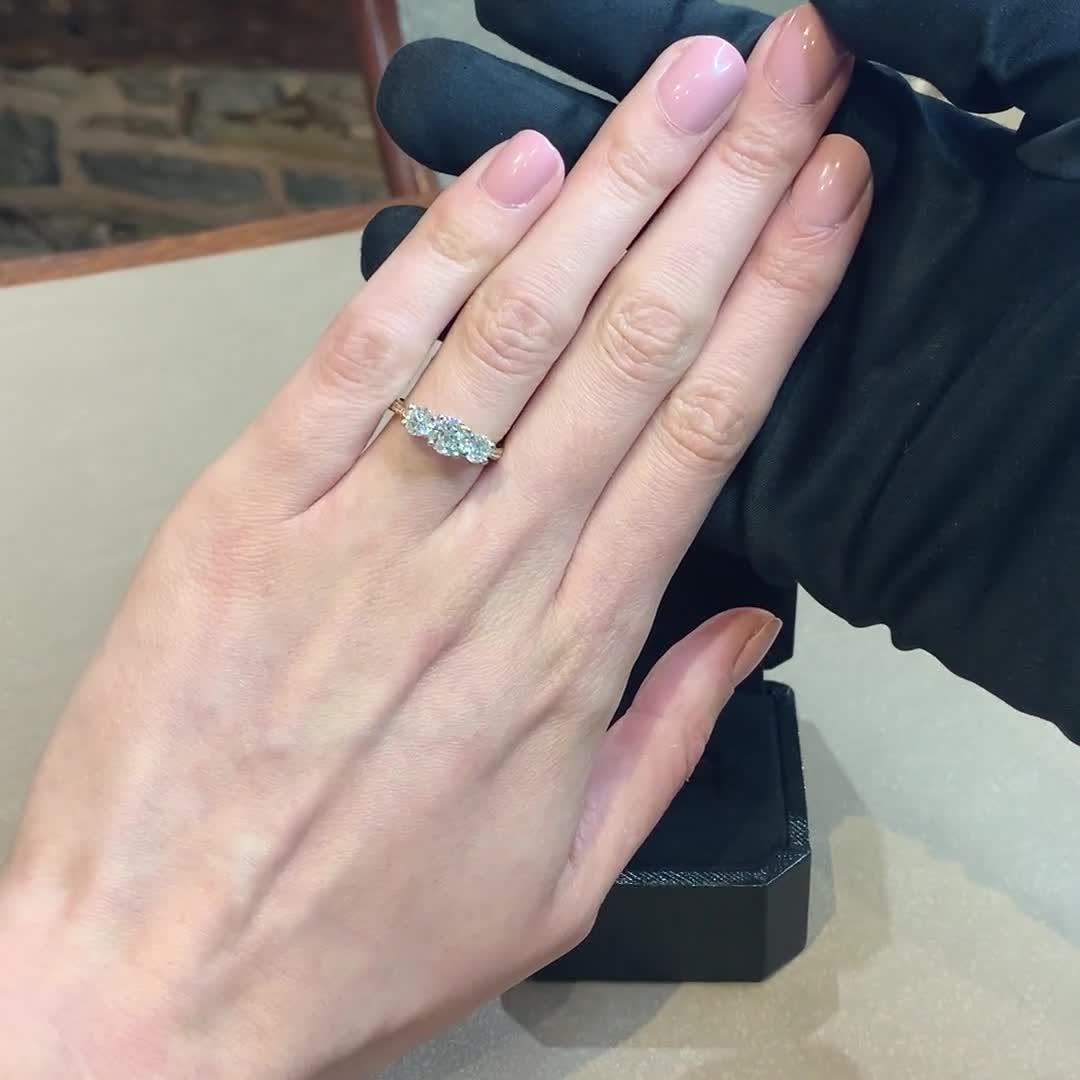 1.76CT Diamond Three-Stone Ring<br /> Yellow Gold and Platinum Duchess Setting