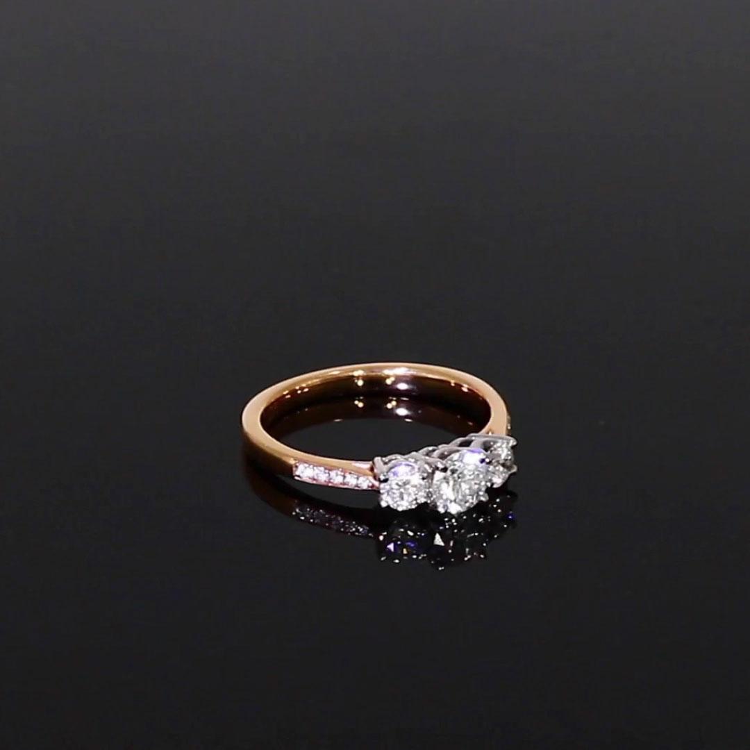 0.77CT Diamond Three-Stone Ring<br /> Rose Gold and Platinum Duchess Setting