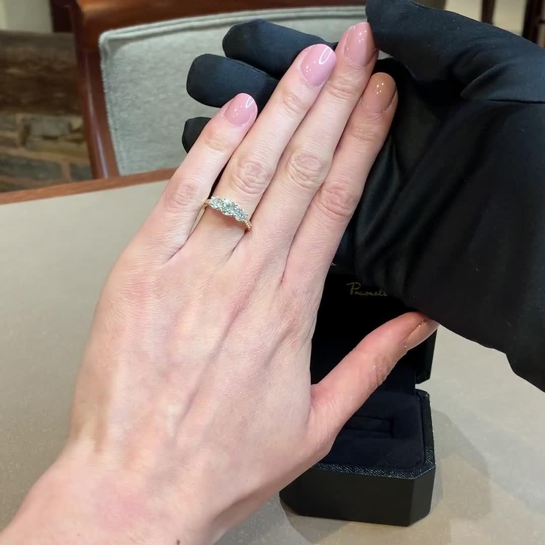 1.34CT Diamond Three-Stone Ring<br /> Yellow Gold and Platinum Duchess Setting
