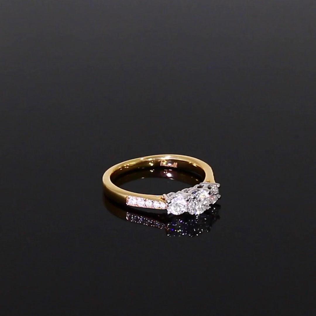 0.66CT Diamond Three-Stone Ring<br /> Yellow Gold and Platinum Duchess Setting