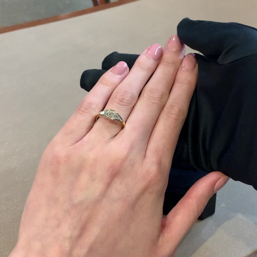 Kingdom Asscher Cut Diamond Ring<br /> 0.98CT in Yellow Gold