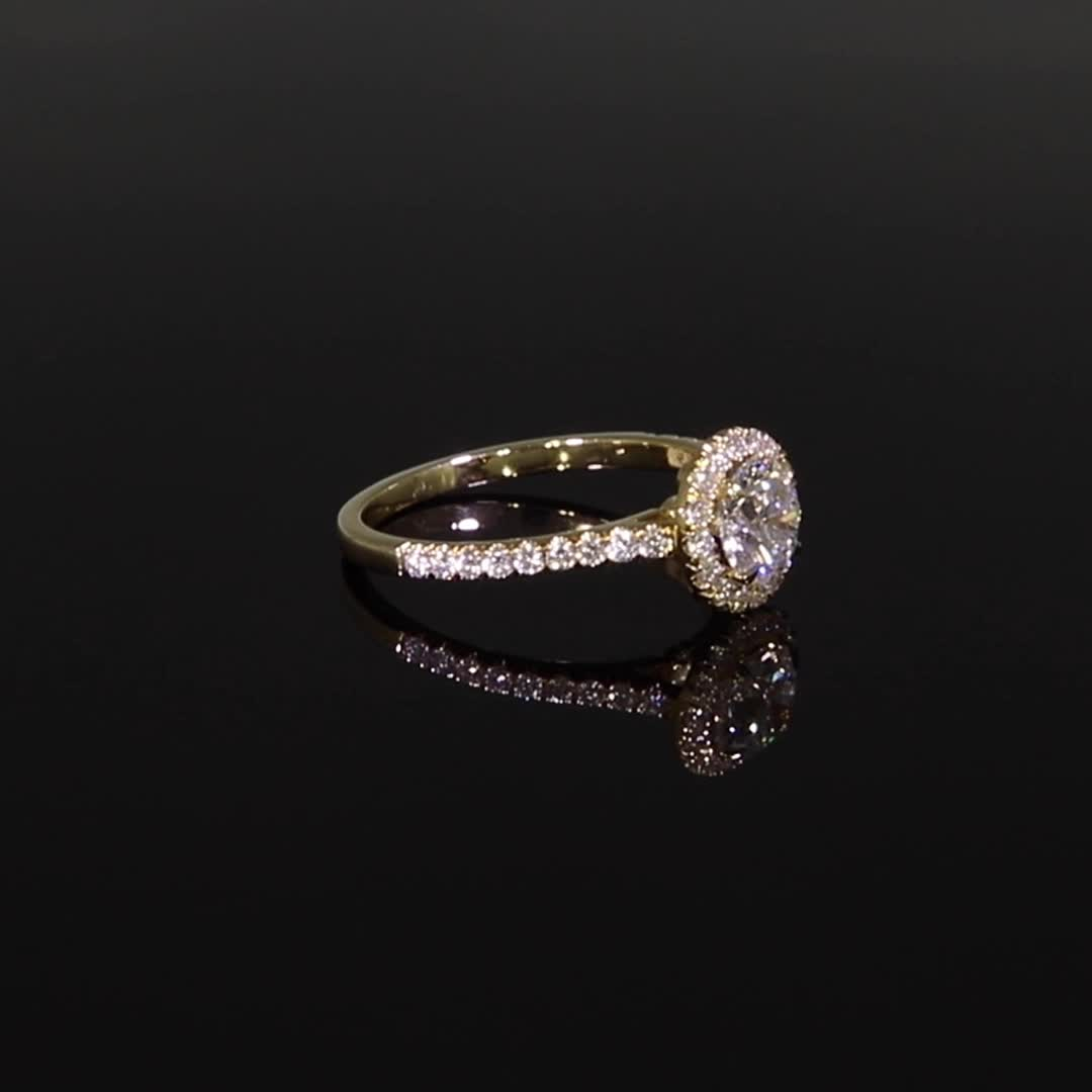 0.90CT Diamond Cluster Ring<br /> Yellow Gold and Platinum Celestial Setting