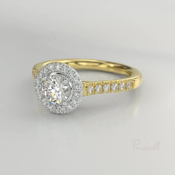 0.35CT Diamond Cluster Ring<br /> Yellow Gold and Platinum Celestial Setting
