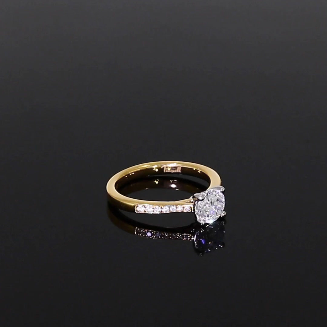 0.90CT Diamond Solitaire Ring<br /> Yellow Gold and Platinum Duchess Setting