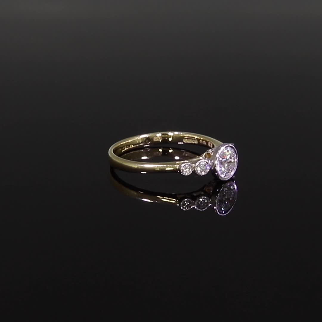0.60CT Diamond Solitaire Ring<br /> Yellow Gold and Platinum Celia Setting