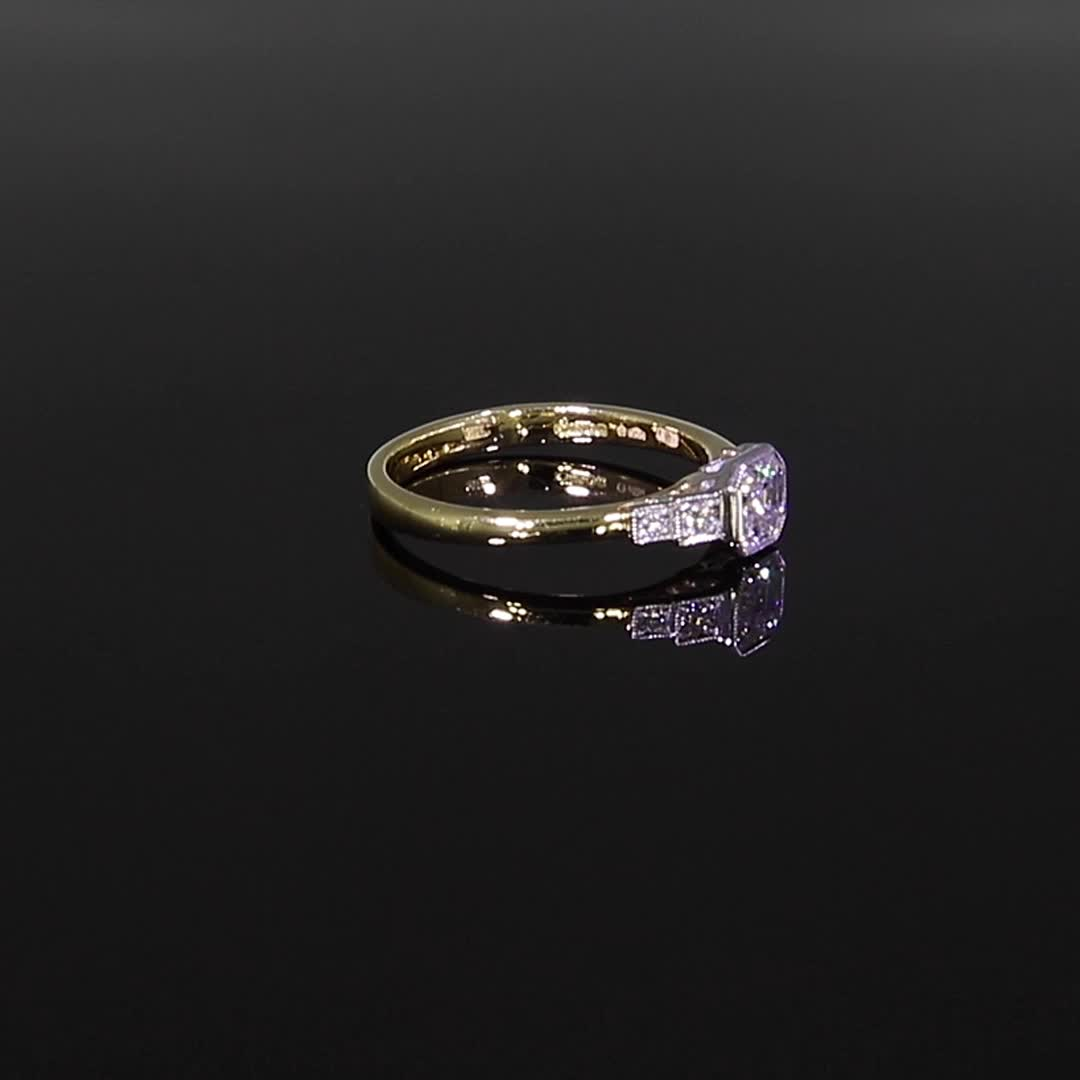 0.61CT Diamond Solitaire Ring<br /> Yellow Gold and Platinum Celia Setting