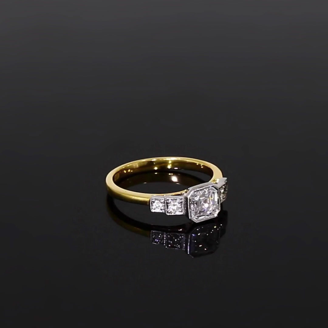 0.91CT Diamond Solitaire Ring<br /> Yellow Gold and Platinum Celia Setting