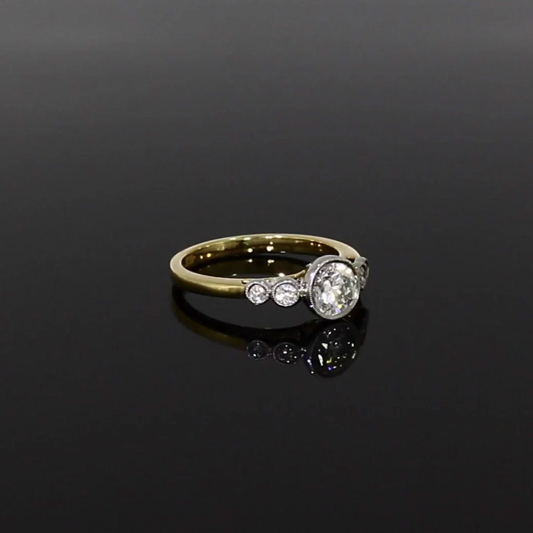 0.90CT Diamond Solitaire Ring<br /> Yellow Gold and Platinum Celia Setting