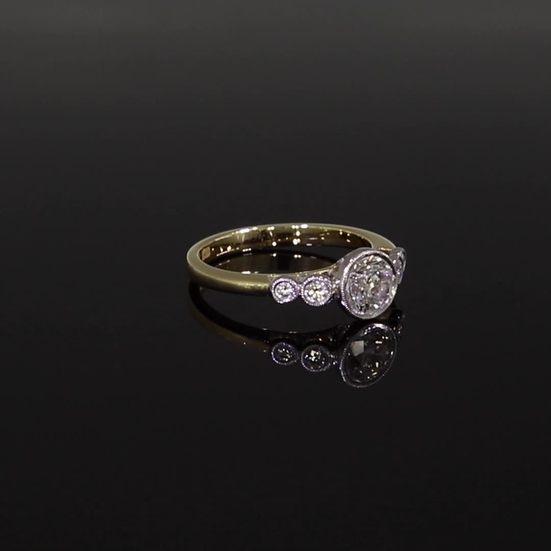 1.00CT Diamond Solitaire Ring<br /> Yellow Gold and Platinum Celia Setting
