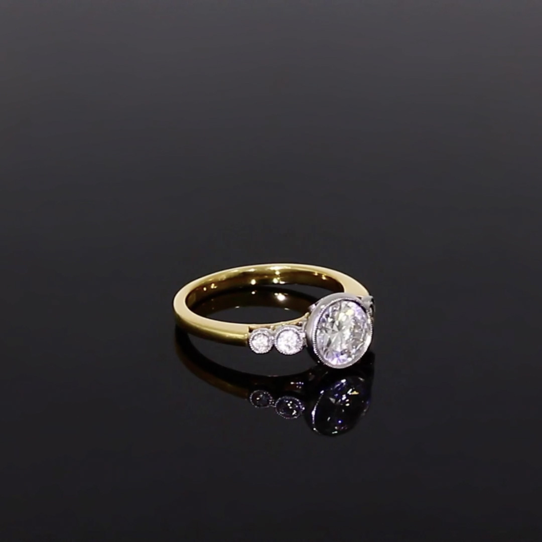 1.20CT Diamond Solitaire Ring<br /> Yellow Gold and Platinum Celia Setting