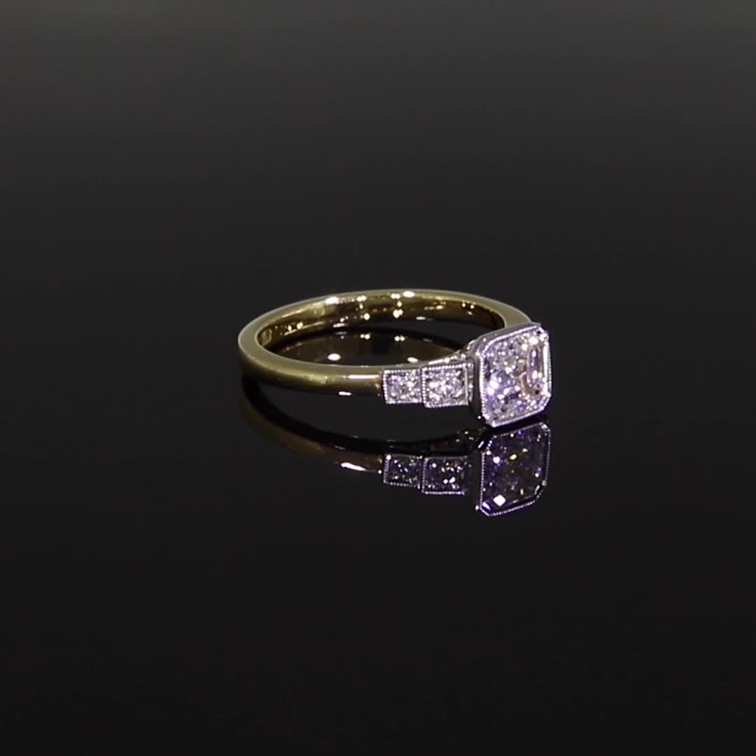 1.10CT Diamond Solitaire Ring<br /> Yellow Gold and Platinum Celia Setting