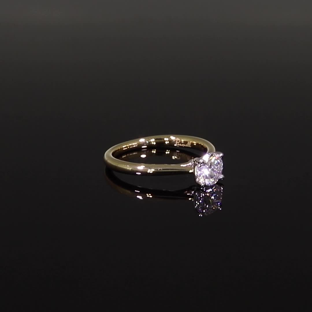 0.67CT Diamond Solitaire Ring<br /> Yellow Gold and Platinum Gaia Setting