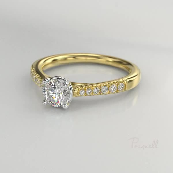 0.91CT Diamond Solitaire Ring<br /> Yellow Gold and Platinum Celestial Setting