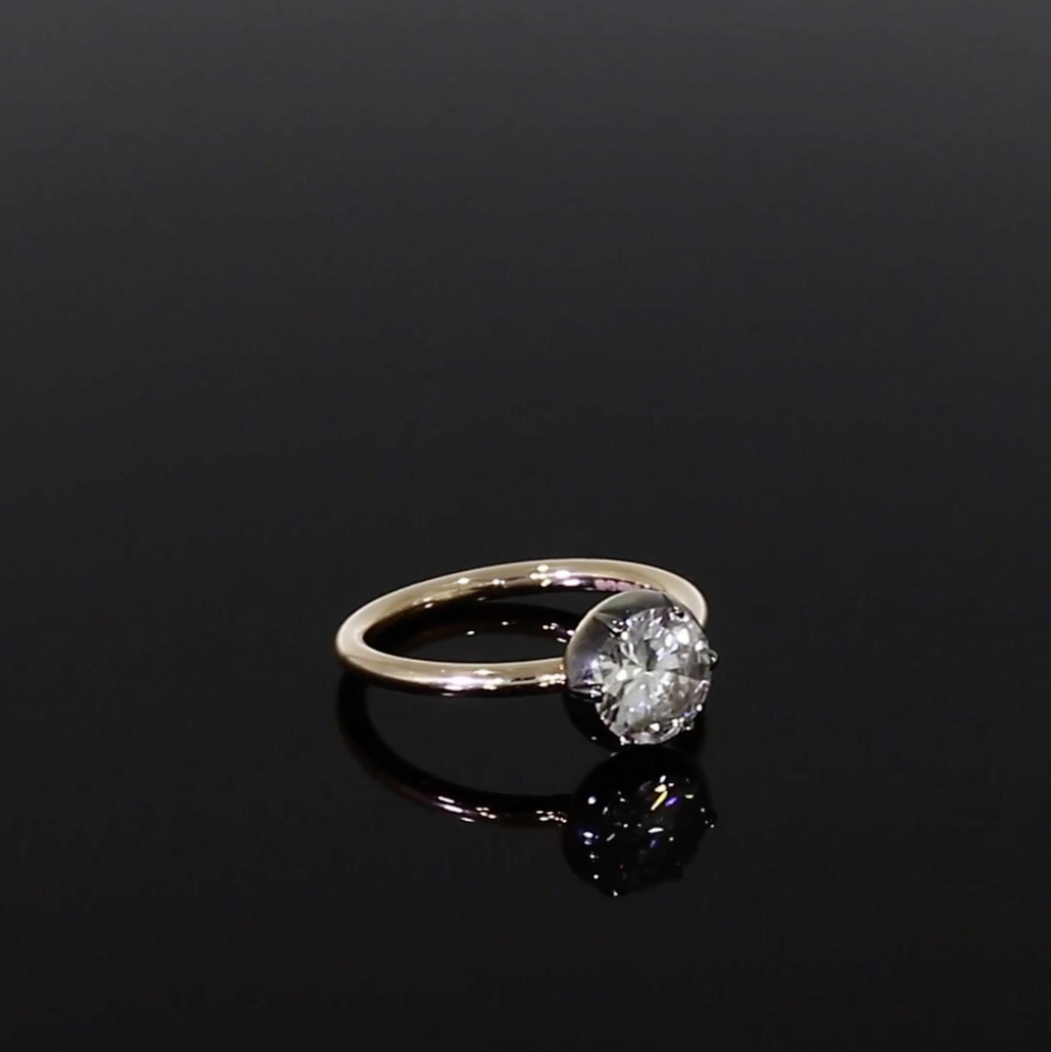 1.42CT Diamond Solitaire Ring<br /> Rose & White Cut Down Setting