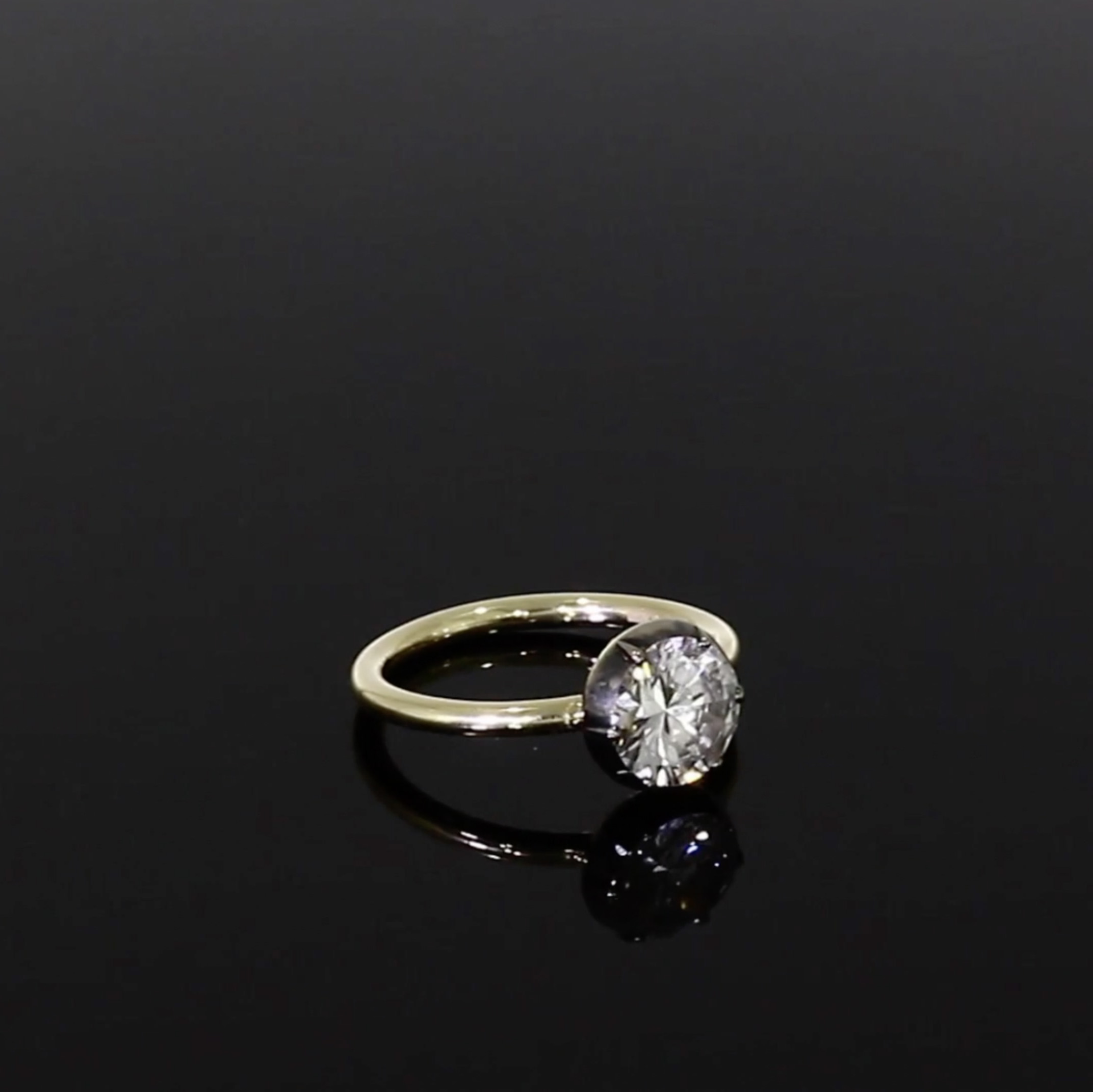 1.63CT Diamond Solitaire Ring<br /> Yellow & White Cut Down Setting