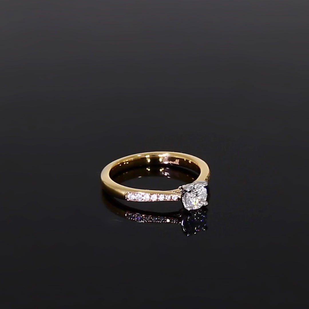 0.40CT Diamond Solitaire Ring<br /> Yellow Gold and Platinum Duchess Setting