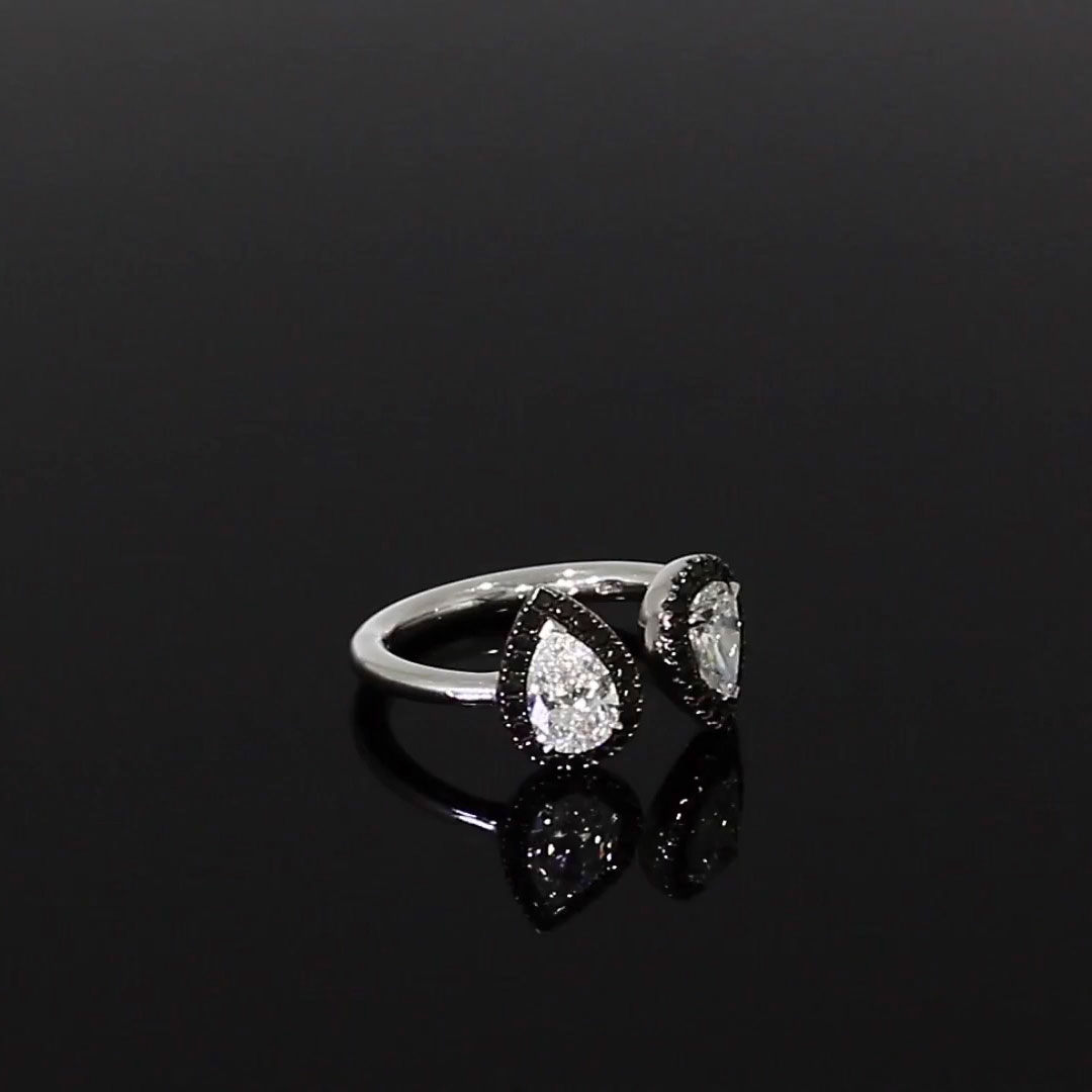 Skinny B Pear Shaped Diamond Ring<br /> 1.32CT in White Gold