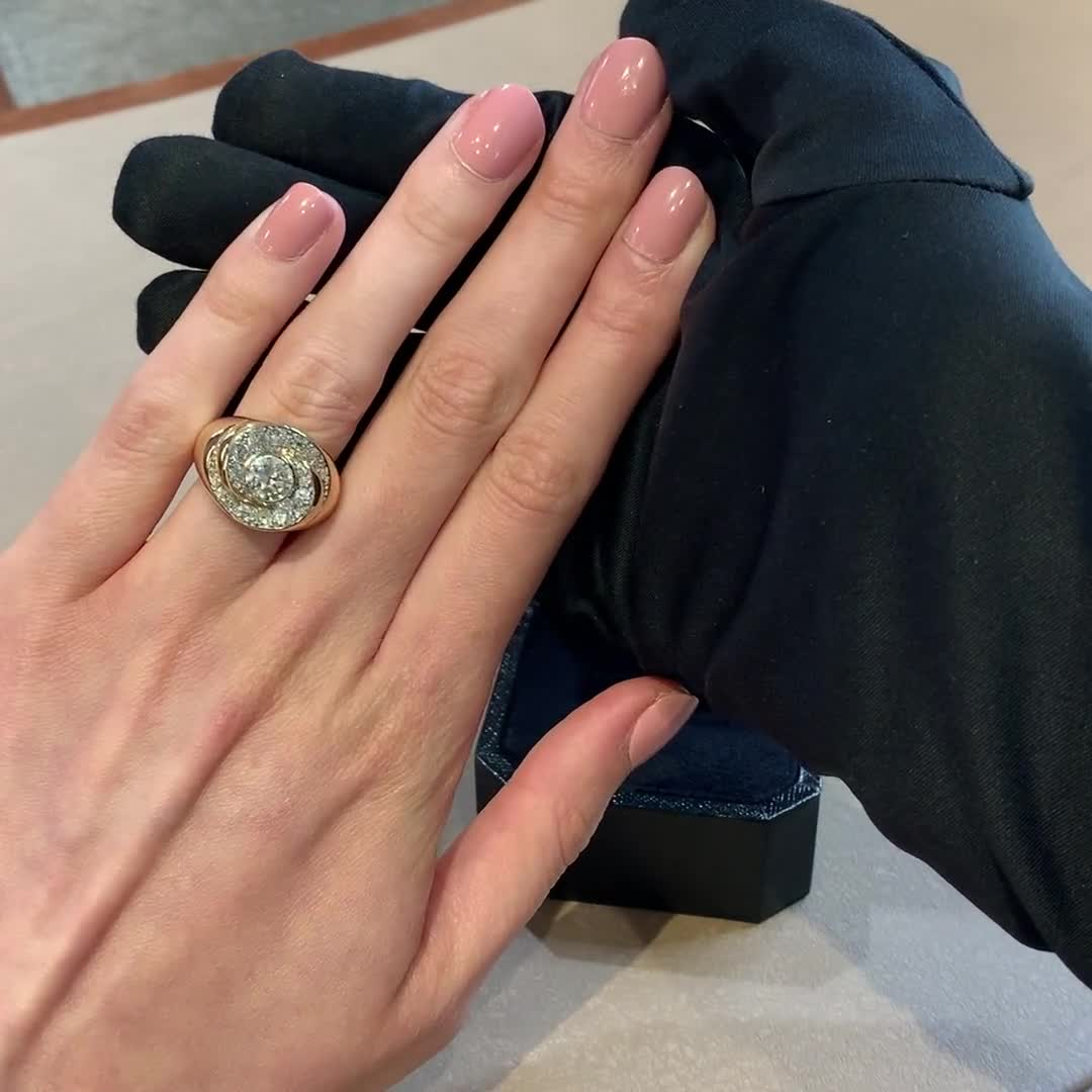 Retro Diamond Cocktail Ring<br /> 2.16CT in Yellow Gold