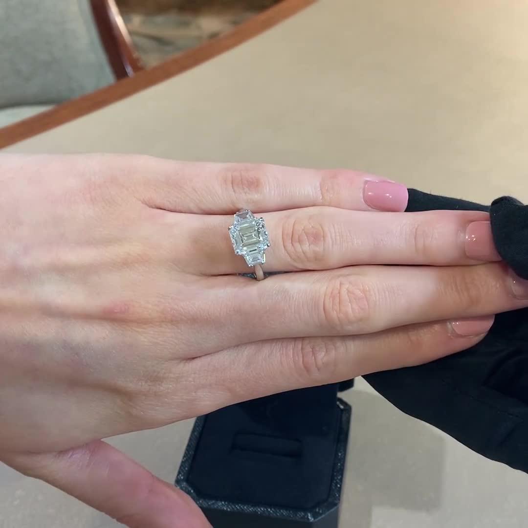 Art Deco Emerald Cut Diamond Ring<br /> 3.76CT in Platinum