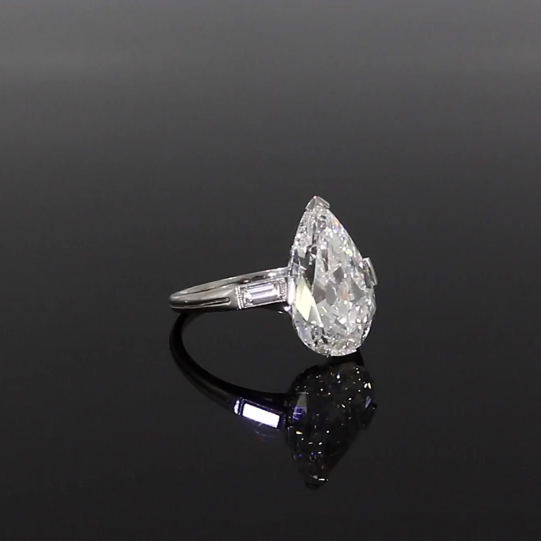 Edwardian Old Pear Cut Diamond Ring <br /> 5.54ct D/IF/Type IIA in Platinum