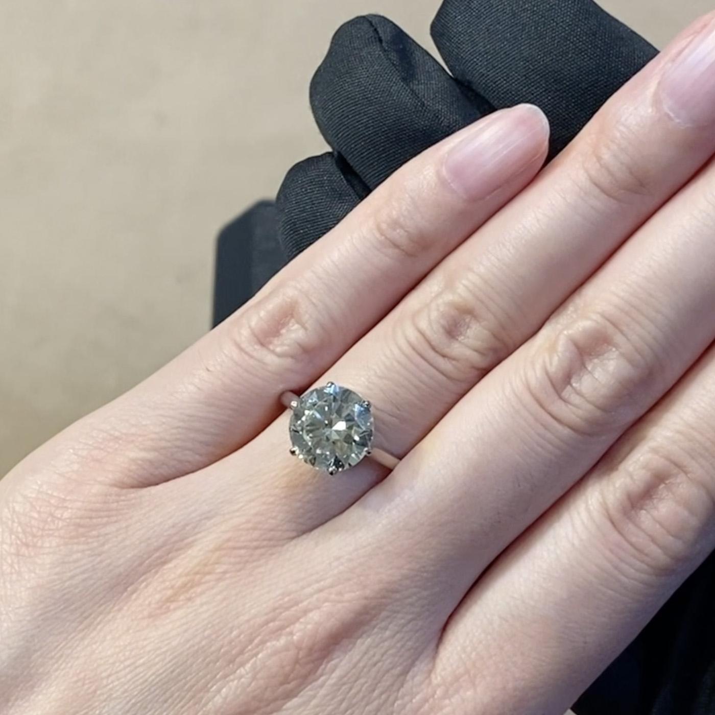 Diamond Solitaire Ring<br /> 3.95CT in Platinum
