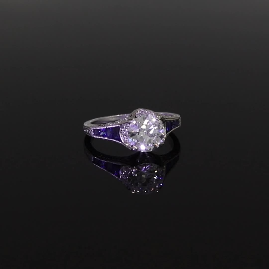 Art Deco Brilliant Cut Diamond and Sapphire Ring <br /> 1.25CT in Platinum