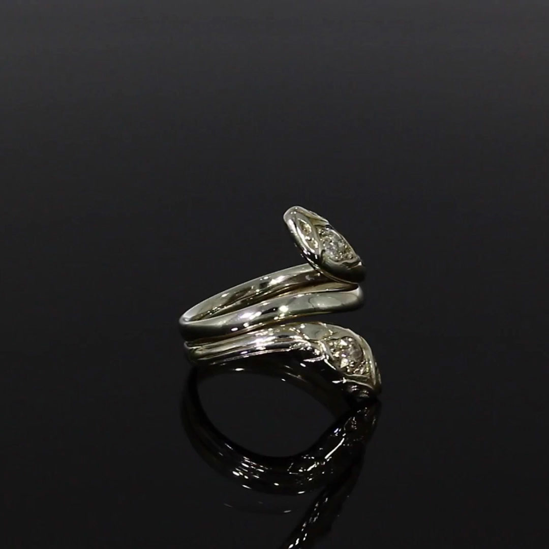 Edwardian Double Headed Serpent Ring <br /> 0.56CT in White Gold
