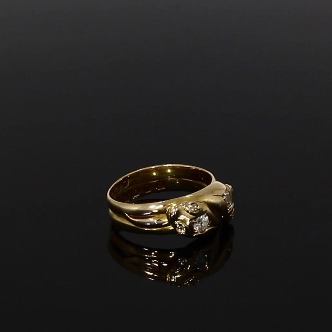 Victorian Double Headed Serpent Ring<br /> 0.46CT in 18ct Yellow Gold and Diamond